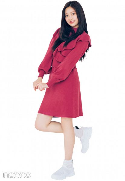 Tags: K-Pop, IZ*ONE, Kim Minju, Standing On One Leg, White Legwear, Light Background, Leg Up, Red Outfit, White Background, Black Eyes, Grin, White Footwear