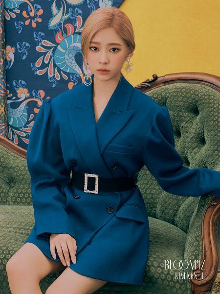 Tags: K-Pop, IZ*ONE, Kim Minju, Sitting On Couch, Blue Outerwear, Belt, Serious, Blue Jacket