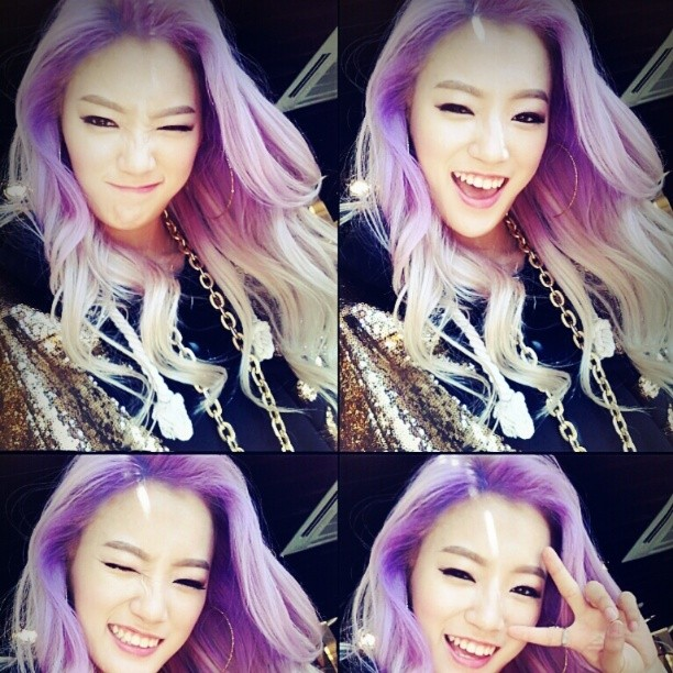 Tags: Wassup, Kim Nari, Purple Hair, Wink, V Gesture, Necklace