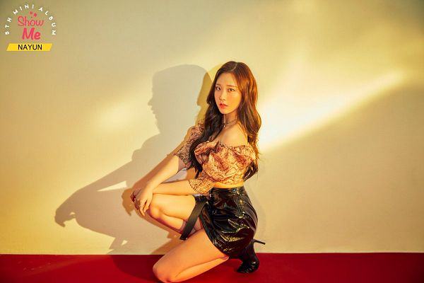 Tags: K-Pop, Momoland, Kim Nayun, Kneeling, Brown Shirt, Boots, Text: Artist Name, Wavy Hair, High Heeled Boots, Midriff, Text: Album Name, Necklace
