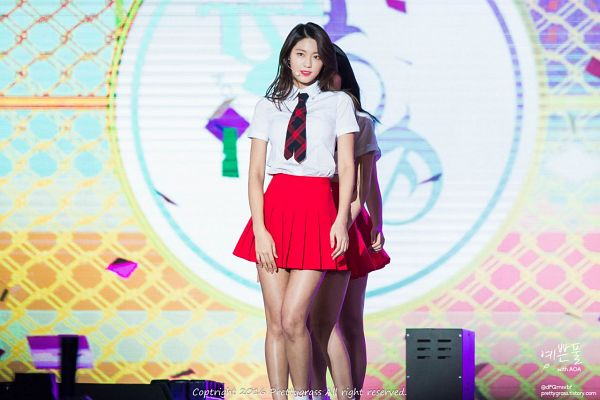 Tags: K-Pop, AOA (Ace Of Angels), Kim Seolhyun, Pleated Skirt, Red Skirt, Bare Legs, Matching Outfit, Checkered Neckwear, Black Neckwear, Skirt, Red Neckwear, Prettygrass