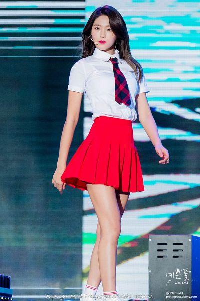 Tags: K-Pop, AOA (Ace Of Angels), Kim Seolhyun, Red Skirt, Black Neckwear, Socks, Red Neckwear, Tie, White Legwear, Skirt, Pleated Skirt, Bare Legs