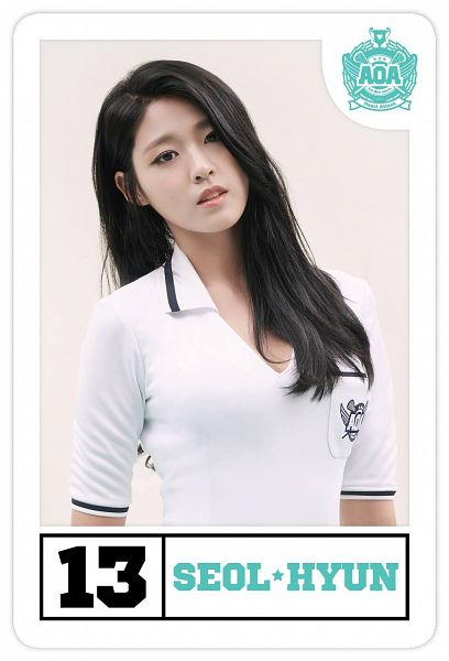 Tags: K-Pop, AOA (Ace Of Angels), Heart Attack (AOA), Kim Seolhyun, Short Sleeves, Text: Artist Name, Card, Android/iPhone Wallpaper