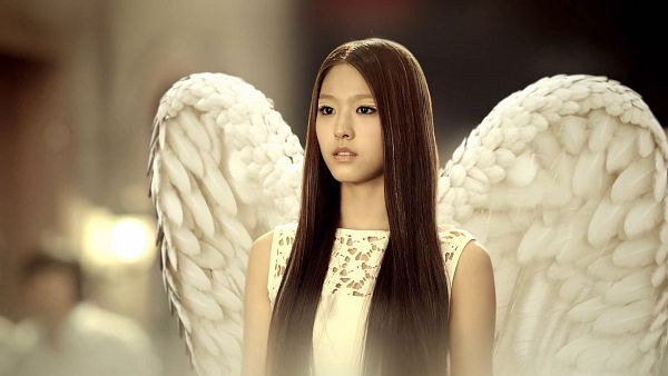 Tags: K-Pop, AOA (Ace Of Angels), Kim Seolhyun, White Dress, Angel Wings, White Outfit, Wallpaper, HD Wallpaper