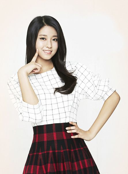 Tags: K-Pop, AOA (Ace Of Angels), Kim Seolhyun, White Background, Finger To Cheek, Hand On Hip, Checkered Shirt, Red Skirt, Skirt, Black Skirt, Checkered Skirt, Light Background
