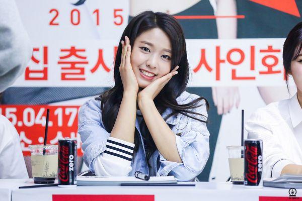 Tags: K-Pop, AOA (Ace Of Angels), Kim Seolhyun, Hand On Cheek, Drinks, Hand On Head, Text: Calendar Date, Korean Text, Denim Jacket, Fansite Request