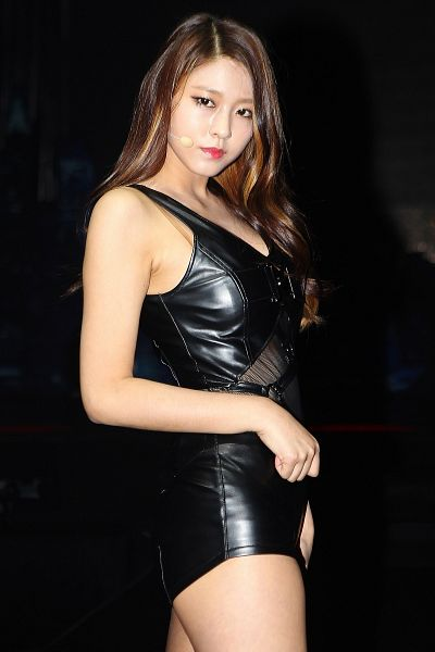 Tags: K-Pop, AOA (Ace Of Angels), Kim Seolhyun, Black Background, Leather Shorts, Bare Legs, Leather Shirt, Sleeveless, Sleeveless Shirt, Black Shorts, Shorts, Bare Shoulders