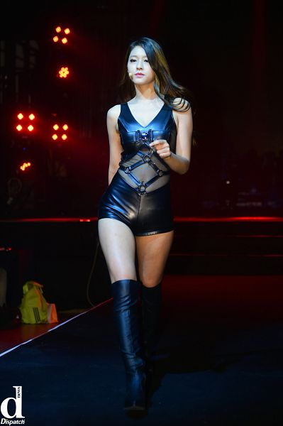 Tags: K-Pop, AOA (Ace Of Angels), Kim Seolhyun, Black Shorts, Leather Shorts, Walking, Looking Ahead, Thigh Boots, Black Outfit, Bare Legs, Dark Background, See Through Clothes