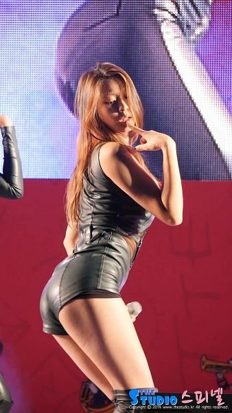 Tags: K-Pop, AOA (Ace Of Angels), Kim Seolhyun, Shorts, Finger To Lips, Leather Shorts, Suggestive, Bare Legs, Eyes Closed, Leather Shirt, Sleeveless, Sleeveless Shirt