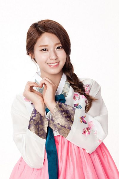 Tags: K-Pop, AOA (Ace Of Angels), Kim Seolhyun, Traditional Clothes, Light Background, Floral Shirt, Korean Clothes, White Background, Floral Print, Pink Skirt, Heart Gesture, Hanbok