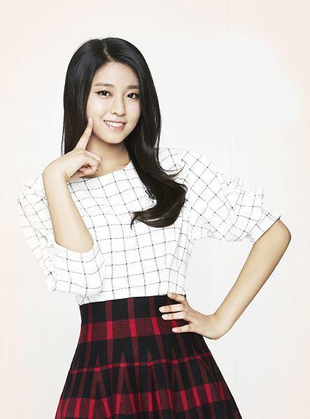 Tags: K-Pop, AOA (Ace Of Angels), Kim Seolhyun, Skirt, Finger To Cheek, Red Skirt, Checkered Shirt, Light Background, White Background, Checkered, Hand On Hip, Striped Skirt