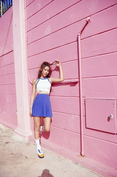 Tags: K-Pop, AOA (Ace Of Angels), Good Luck (Song), Kim Seolhyun, Socks, White Footwear, Blue Skirt, Skirt, Standing On One Leg, Leg Up, Midriff, Pink Background