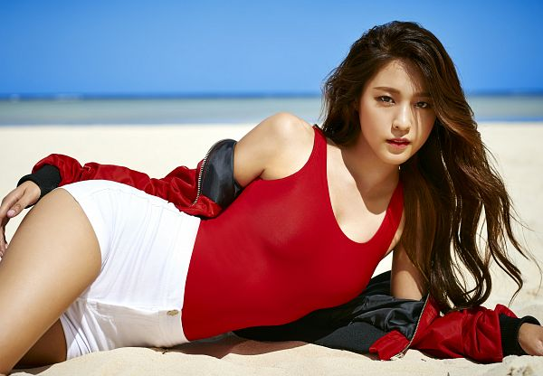 Tags: K-Pop, AOA (Ace Of Angels), Good Luck (Song), Kim Seolhyun, Suggestive, White Shorts, Cleavage, Swimsuit, Laying On Side, Laying Down, Red Outfit, Shorts