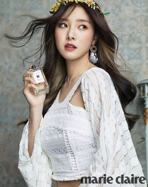Tags: K-Drama, Kim So-eun, Perfume Bottle, Text: Magazine Name, Bottle, Marie Claire, Magazine Scan