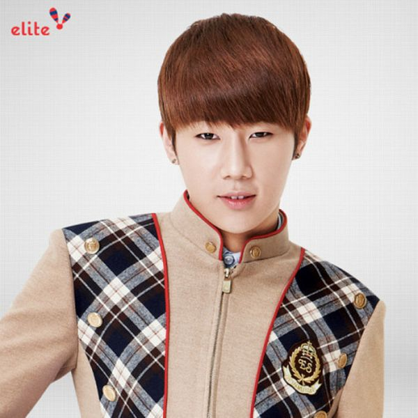 Tags: K-Pop, Infinite, Kim Sung-kyu, Text: Brand Name, School Uniform, Gray Background, Brown Outerwear, Elite