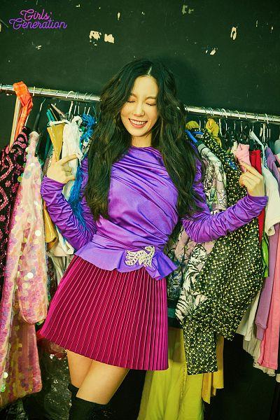 Tags: K-Pop, Girls' Generation, Kim Tae-yeon, Knee Boots, Purple Shirt, Black Background, Skirt, Pleated Skirt, Boots, Bare Legs, Eyes Closed, Dark Background