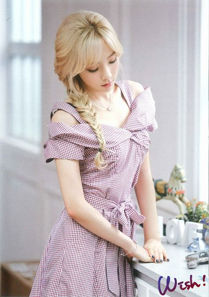 Tags: K-Pop, Girls' Generation, Kim Tae-yeon, Eyes Closed, Looking Down, Checkered, Purple Outfit, Twin Tails, Purple Dress, Checkered Dress, Blonde Hair, Looking Ahead