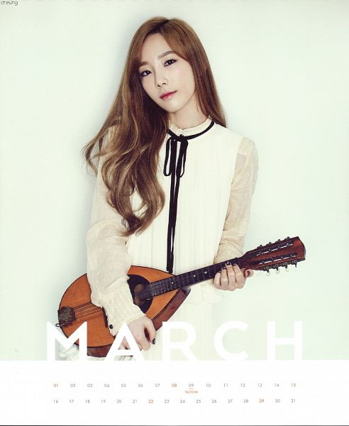 Tags: K-Pop, Girls' Generation, Kim Tae-yeon, White Background, White Dress, Playing Instrument, Text: Calendar Date, White Outfit, Musical Instrument, Light Background, Black Bow, Calendar