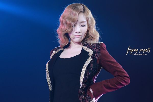 Tags: K-Pop, Girls' Generation, The Boys, Kim Tae-yeon, Red Jacket, Eyes Closed, Red Outerwear, Looking Down, Blue Background, Hand On Hip, Medium Hair, Flying Petals