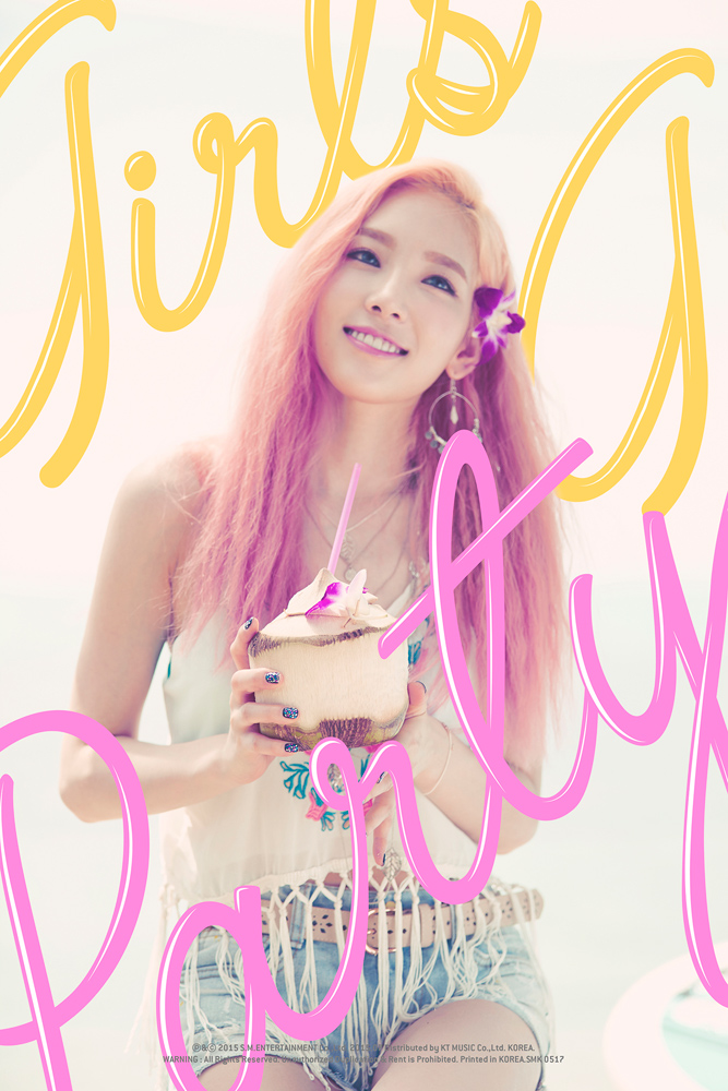 Tags: K-Pop, Girls' Generation, Party (song), Kim Tae-yeon, Jeans, Looking Up, White Background, Flower, Denim Shorts, Pink Hair, Hair Flower, Text: Artist Name