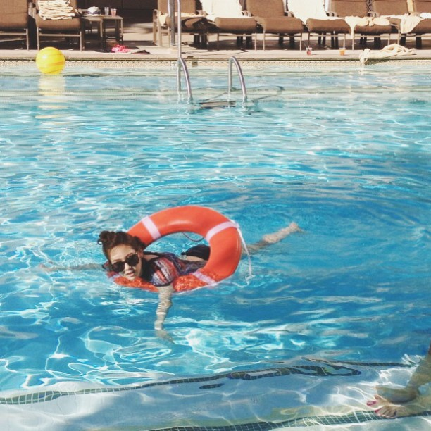 Tags: K-Pop, Girls' Generation, Kim Tae-yeon, Sunglasses, In Water, Barefoot, Flotation Devices, Hair Up, Full Body, Swimming Pool, Glasses, Instagram