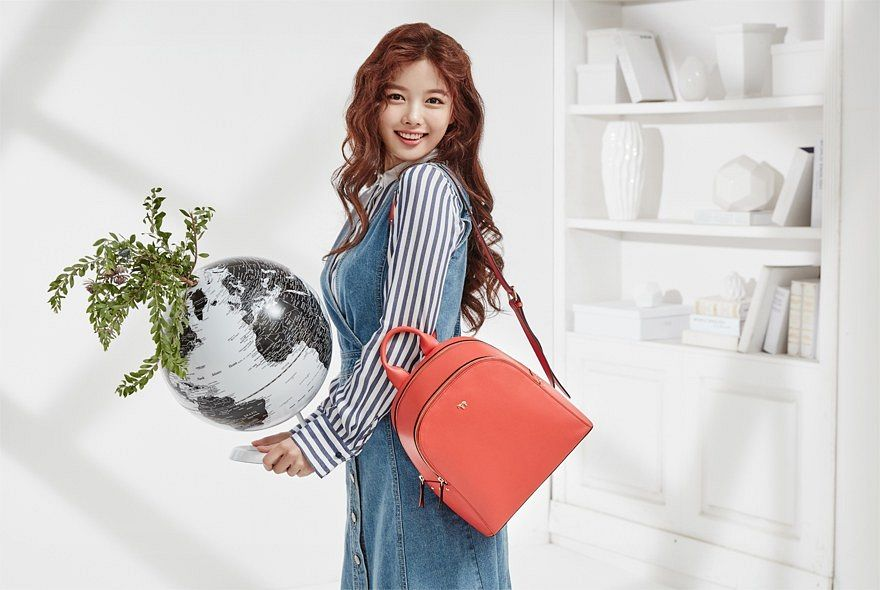 Tags: K-Drama, Kim Yoo-jung, Wavy Hair, Striped, Denim Dress, Bag, Striped Shirt, Light Background, Shadow, Lapalette