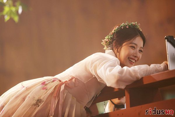 Tags: K-Drama, Kim Yoo-jung, Korean Clothes, Pink Dress, Pink Outfit, Hanbok, Flower, Laughing, Flower Crown, Bend Over, Hair Ornament, Traditional Clothes