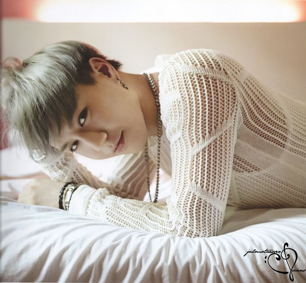 Tags: K-Pop, Got7, Kim Yugyeom, Laying On Stomach, Laying Down, On Bed, Bed, Gray Hair, GOTCHA Photobook, Scan