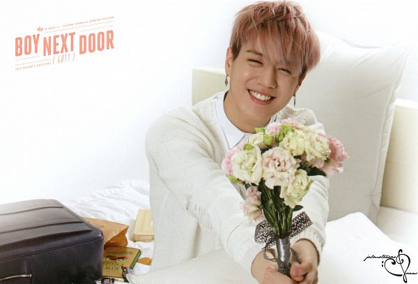 Tags: K-Pop, Got7, Kim Yugyeom, Pink Hair, On Bed, Pillow, Bouquet, Bed, Sitting, Earrings, Bent Knees, Flower
