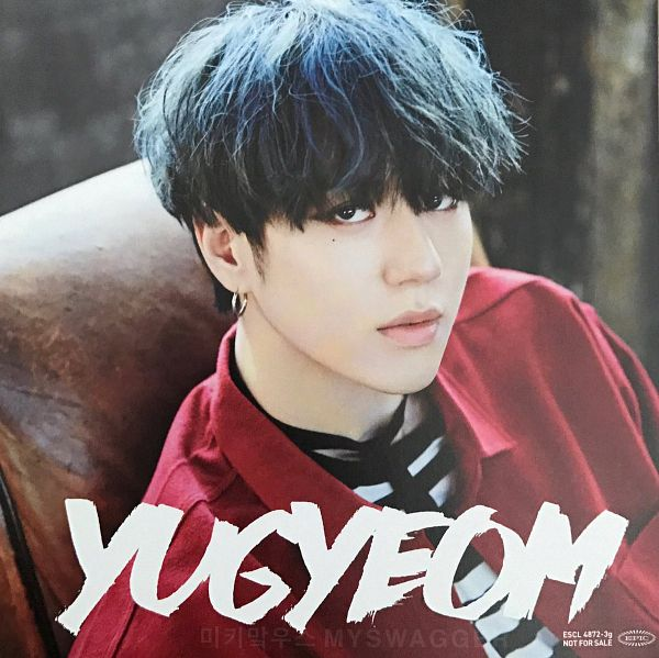 Tags: K-Pop, Got7, My Swagger, Kim Yugyeom, Serious, Red Shirt, Blue Hair, Facial Mark, Mole, Text: Artist Name, Scan