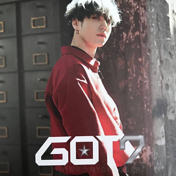 Tags: K-Pop, Got7, My Swagger, Kim Yugyeom, Red Shirt, Text: Artist Name, Earrings