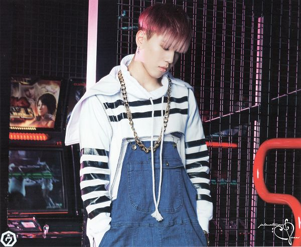 Tags: K-Pop, Got7, Kim Yugyeom, Necklace, Overalls, Looking Down, Red Hair, Serious, Hoodie, Hand In Pocket, Scan, Identify
