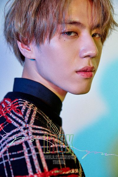 Tags: K-Pop, Got7, Kim Yugyeom, Text: Song Title, Text: Album Name, Blonde Hair, Plaided Print, Blue Background, Text: Calendar Date, Serious, Facial Mark, English Text