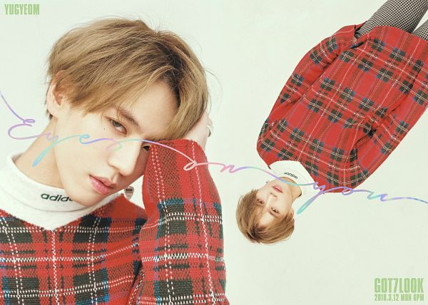 Tags: K-Pop, Got7, Kim Yugyeom, Text: Song Title, Plaided Print, Text: Calendar Date, Light Background, Serious, Multiple Persona, Facial Mark, White Background, Upside Down