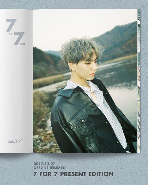 Tags: K-Pop, Got7, Kim Yugyeom, Text: Album Name, Mound, Gray Hair, Text: Calendar Date, Serious, Black Jacket, Text: Artist Name, Water, English Text