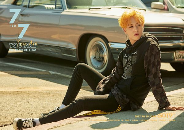 Tags: K-Pop, Got7, Kim Yugyeom, English Text, Text: Artist Name, Text: Song Title, Car, Hood, Text: Album Name, Hoodie, Text: Calendar Date, Black Pants