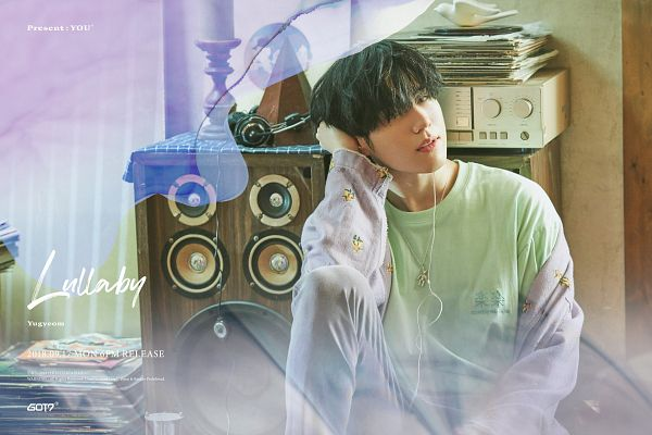 Tags: K-Pop, Got7, Kim Yugyeom, Text: Album Name, Radio, Serious, English Text, Text: Calendar Date, Text: Song Title, Text: Artist Name, Earbuds, Necklace