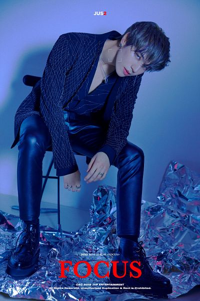 Tags: K-Pop, Got7, Kim Yugyeom, Pants, Blue Eyes, Earrings, Blue Shirt, English Text, Text: Album Name, Sitting, Blue Jacket, Bent Knees