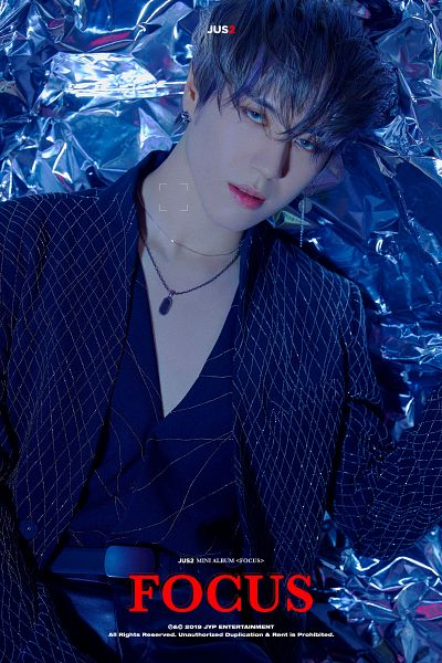 Tags: K-Pop, Got7, Kim Yugyeom, Jacket, Text: Album Name, Blue Shirt, Belt, Serious, Blue Outerwear, Necklace, Blue Jacket, Pants