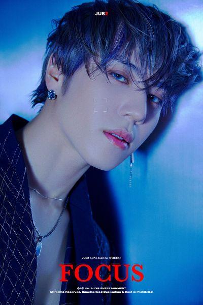 Tags: K-Pop, Got7, Kim Yugyeom, Blue Jacket, Jacket, Text: Artist Name, Necklace, Blue Eyes, Earrings, Text: Album Name, Serious, English Text