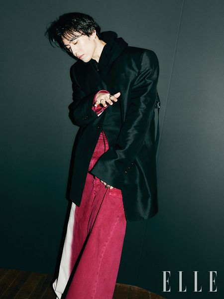 Tags: K-Pop, Got7, Kim Yugyeom, Looking Down, Serious, Black Jacket, Ring, Red Pants, Elle Korea, Magazine Scan