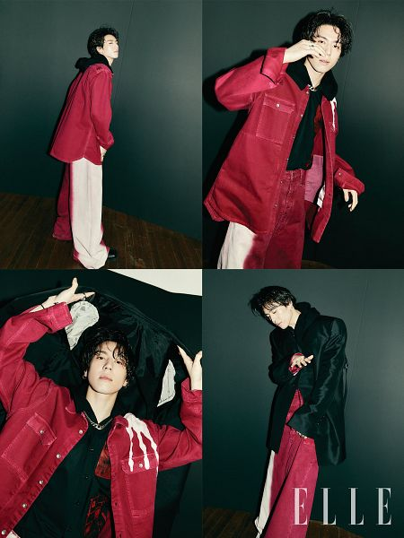 Tags: K-Pop, Got7, Kim Yugyeom, Multiple Persona, Serious, Black Jacket, Red Outfit, Magazine Scan, Elle Korea