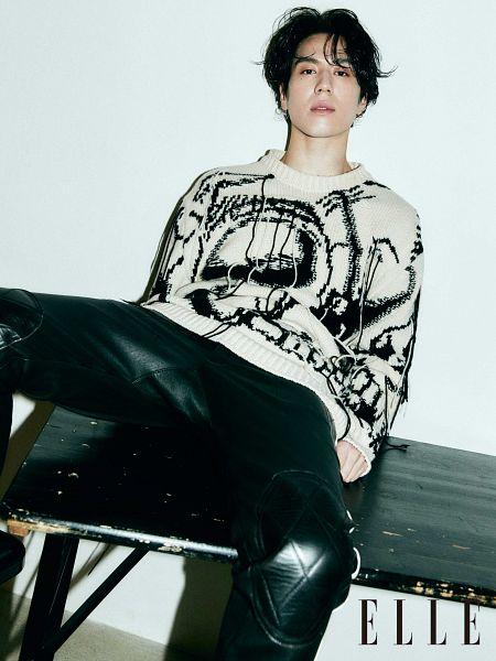 Tags: K-Pop, Got7, Kim Yugyeom, Black Pants, Serious, Light Background, Sitting On Table, White Background, Spread Legs, Table, Magazine Scan, Elle Korea