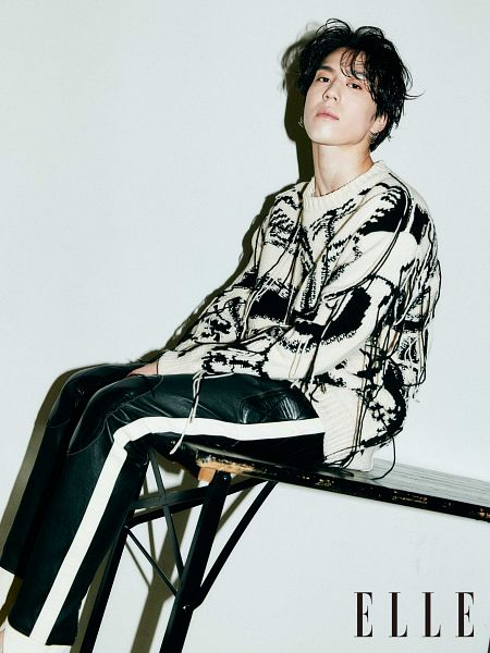 Tags: K-Pop, Got7, Kim Yugyeom, Light Background, White Background, Sitting On Table, Table, Black Pants, Serious, Elle Korea, Magazine Scan