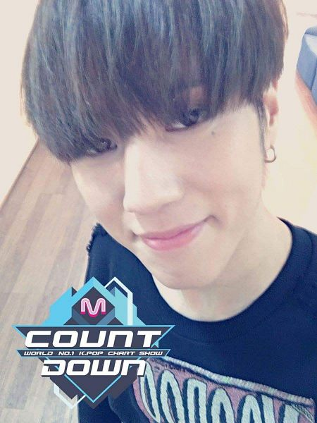 Tags: JYP Entertainment, Television Show, K-Pop, Got7, Kim Yugyeom, Bangs, Earrings, Looking Up, Looking Ahead, Backstage, M!Countdown, Selca