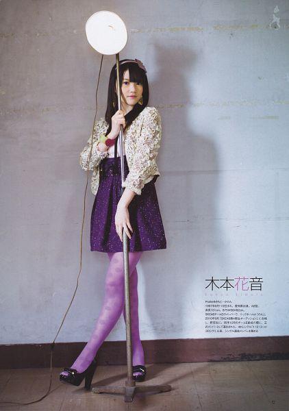 Tags: J-Pop, SKE48, Kimoto Kanon, Purple Legwear, High Heels, Gray Outerwear, Skirt, Text: Artist Name, Pantyhose, Black Footwear, Purple Skirt, Lamp