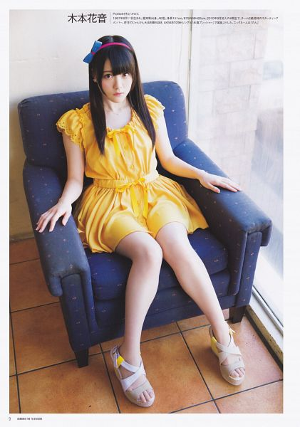 Tags: J-Pop, SKE48, Kimoto Kanon, Sitting On Chair, Hairband, Looking Up, Shoes, Bare Legs, Japanese Text, Sandals, Yellow Dress, White Footwear