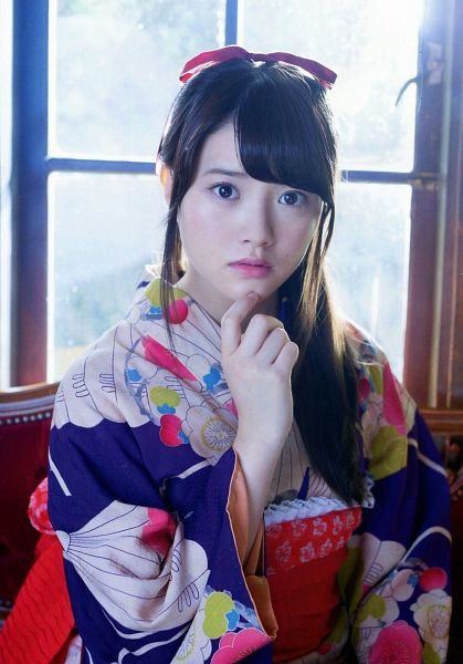Tags: J-Pop, SKE48, Kimoto Kanon, Hair Bow, Window, Kimono, Chin In Hand, Hair Ornament, Ponytail, Bow, Traditional Clothes, Red Bow
