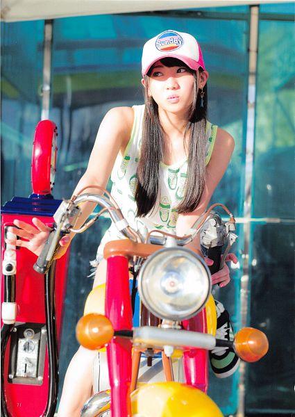 Tags: J-Pop, AKB48, Kizaki Yuria, Leg Up, Shorts, Bare Legs, Sneakers, Motorcycle, Hat, Standing On One Leg, Looking Away, Baseball Cap