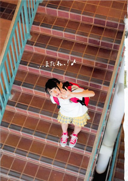 Tags: J-Pop, AKB48, Kizaki Yuria, Sneakers, Checkered Skirt, Japanese Text, Shoes, Stairs, Bag, Checkered, Backpack, Bare Legs